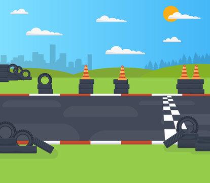 illustration of start or finish line racing background side view vector. Creative art design. the asphalt road concept graphic element.