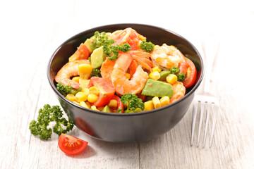 tomato salad with corn, avocado and shrimp