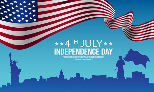 4th of July Independence Day Template Design With Waving American Flag Gradient Background Vector Illustration