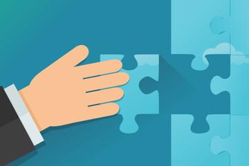 Apporter sa contribution à un puzzle (flat design)