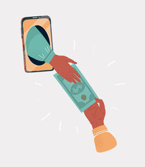 Vector illustration of screen phone with human hands give dollars to each other. Isolated on a white background