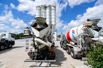 ROGGENTIN, GERMANY - JUNE 14, 2020: Cemex concrete mixer at plant. Cemex is the second largest building materials company worldwide.