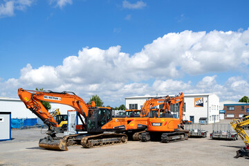 ROGGENTIN, GERMANY - JUNE 14, 2020: HKL Mietpark. HKL Baumaschinen GmbH is an owner-managed company for construction machinery trade and rental with its headquarters in Hamburg, Germany.