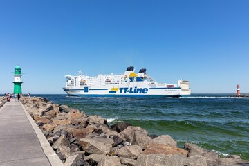 ROSTOCK, GERMANY - JUNE 14, 2020: TT-Line ferry NILS HOLGERSSON outbound Rostock.