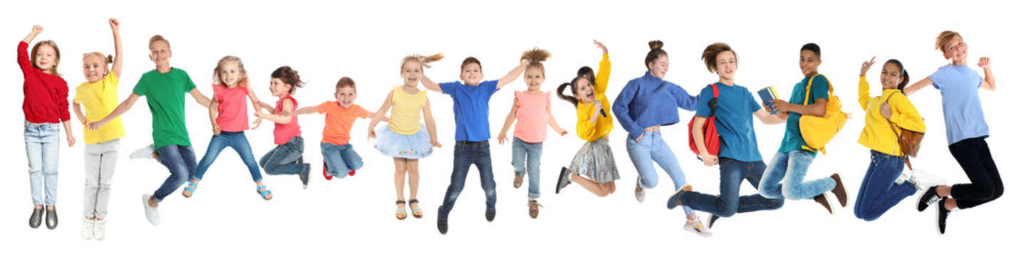 Collage with photos of jumping children on white background. Banner design