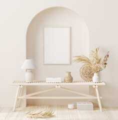 Mock up frame in home interior background with minimal decor, 3d render