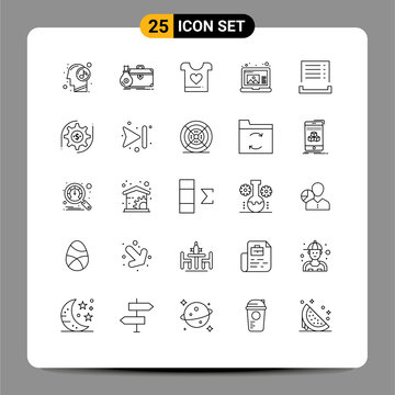 Group of 25 Lines Signs and Symbols for cash, laptop, portfolio, draw, wedding