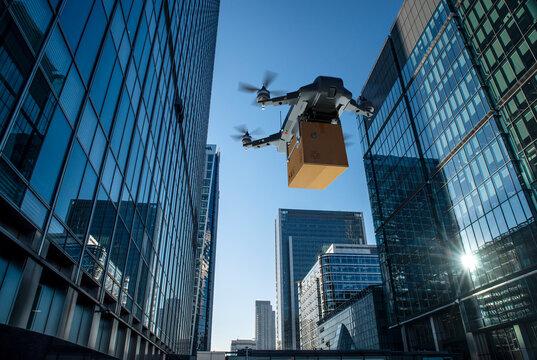 Drone delivering package between highrise buildings, London, UK