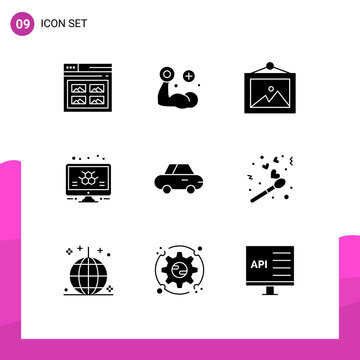 9 Universal Solid Glyphs Set for Web and Mobile Applications roadster, science, muscle, monitor, atom