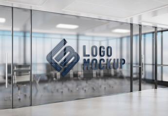 Logo on Office Window Mockup