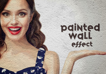 Paint Photo Effect on a Wall Mockup
