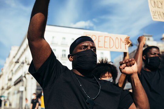 People protesting at a rally for racial equality. Black Lives Matter.