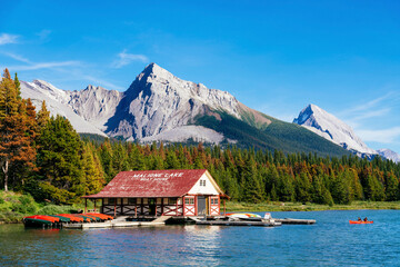 Maligne Lake Boat House with canoa and blue sky, Jasper National Park, Alberta, Canada