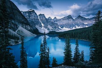 Blue Hour at Moraine Lake, Banff Lake Louise, Canadian Rockies, Canada