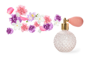 Perfume with floral scent on white background