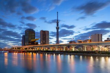 Tokyo Skytree and Sumida River at dawn, Tokyo, Japan