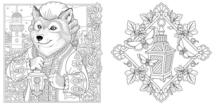 Coloring pages with wolf and vintage lantern