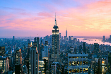 Midtown Manhattan, New York City, USA. High angle view of Empire State Building and Midtown skyline at dusk.