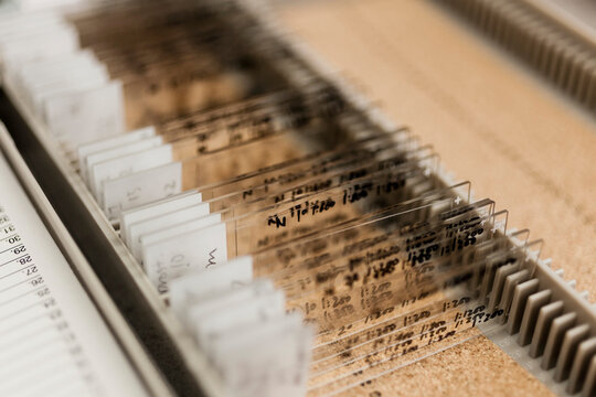 Close-up of various microscope slides in container at laboratory