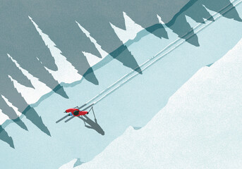 Illustration of man skiing during winter on sunny day