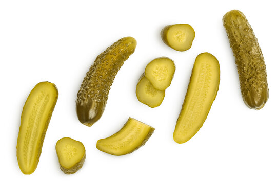 Marinated pickled cucumber isolated on white background with clipping path and full depth of field. Top view. Flat lay