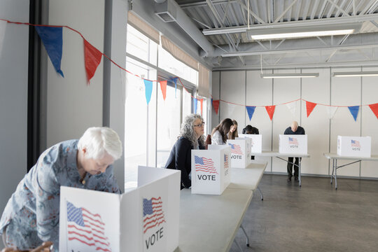 Voters in voting booths at American polling place