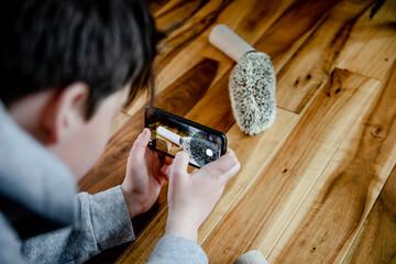 Boy photographing hedgehog high angle
