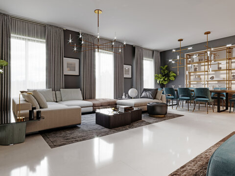 large living room with a large white corner sofa and TV unit, dining area with dining table. Gray walls and large windows.