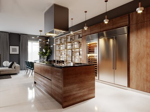 Luxurious kitchen modern style with wooden contemporary furniture and island with hood. Burgundy gray walls, black granite countertops. Studio apartment.