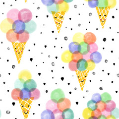 Ice cream waffle cones seamless pattern. Hand drawn cute ice cream with smiling faces repeating background. Cute kids summer pattern for fabric, packaging, kids fashion, wallpaper
