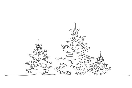 Pine fir trees in a forest. Continuous one line drawing