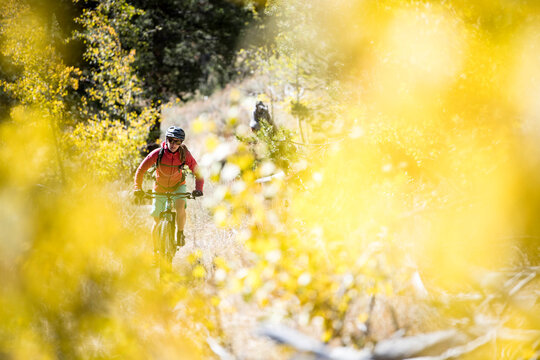 A woman mountain biking in the fall.
