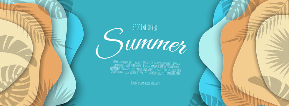 Summer sale banner with paper cut frame on blue sea and beach background.