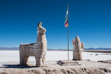 Tuinposter Historisch mon. Salt statues at Salinas Grandes in Argentina