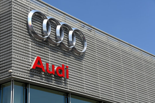 Goeppingen, Baden-Wuerttemberg / Germany - May 18, 2018: Audi Automobile dealership in Goeppingen, Germany, Audi AG is a German automobile manufacturer that produces luxury vehicles