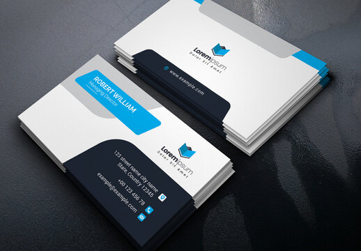 Corporate Business Card Layout with Blue Accents