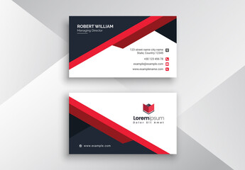 Red Corporate Business Card Layout