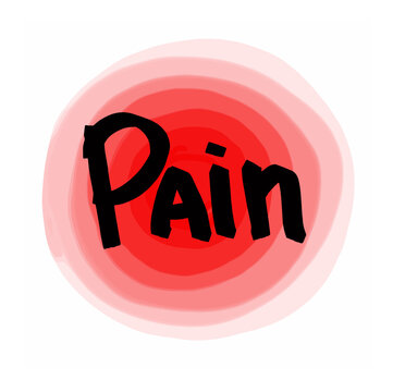 Pain hand lettering. Body signals, pain. Vector hand lettering. Vector illustration on white background. For cards, posters, decor it can be used as a print for t-shirts and bags.