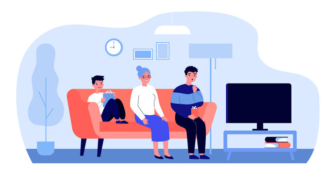 Happy family watching TV at home. Grandma, child and man sitting on couch in living room flat vector illustration. Leisure time, movie, show concept for banner, website design or landing web page
