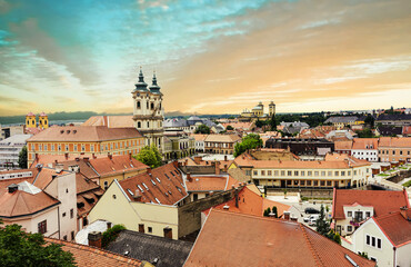 Sunset over Eger in Hungary