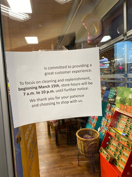 Local grocery store special hours due to Coronavirus COVID-19 Pandemic causes store closure and new hours of Operation Supermarkets Offer Special Hours for Older Shoppers senior Hours