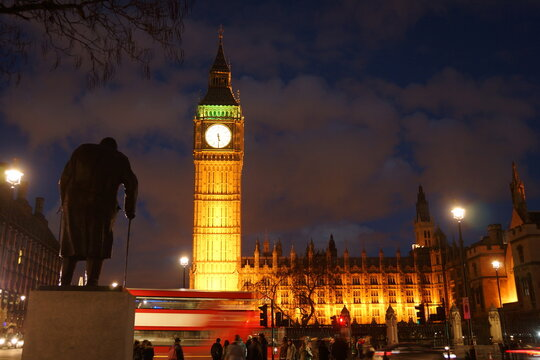 Winston Churchill statue Big Ben and Palace of Westminster in London