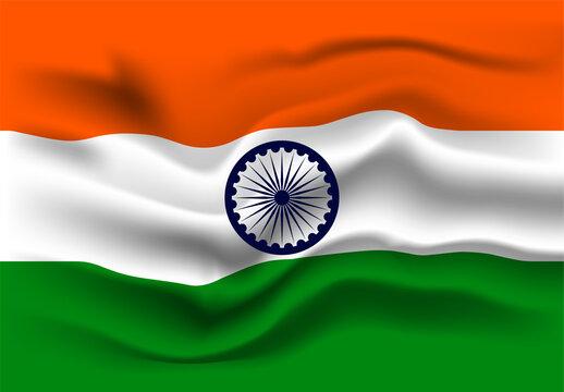 Waving Indian flag. Indian flag waving vector,Indian tricolor and ashoka chakra.