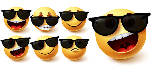 Smiley in sunglasses vector set. Smileys emoji character wearing glasses with different facial expression like cute, naughty, crazy and cool for social media summer character design. Vector