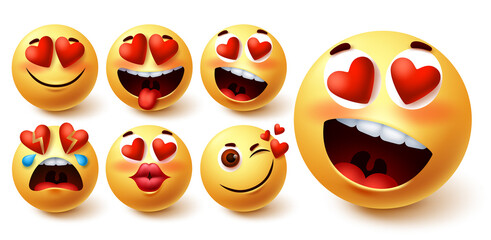 Emoji valentines vector set. Smiley emojis yellow face in heart eyes with different facial expression like in love, kiss, broken, blush and crazy for emoticon valentine design element. Vector