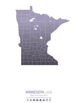 minnesota map. us states vector map series.