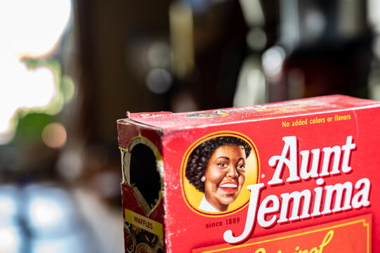 Tiffin, Iowa, USA - 6/2020:  opened Aunt Jemima branded waffle mix box