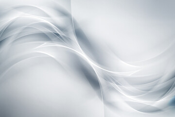 Wall Mural - Futuristic white waves on grey backgound