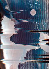 Color noise background. Digital glitch. Blue white purple distortion wave texture.
