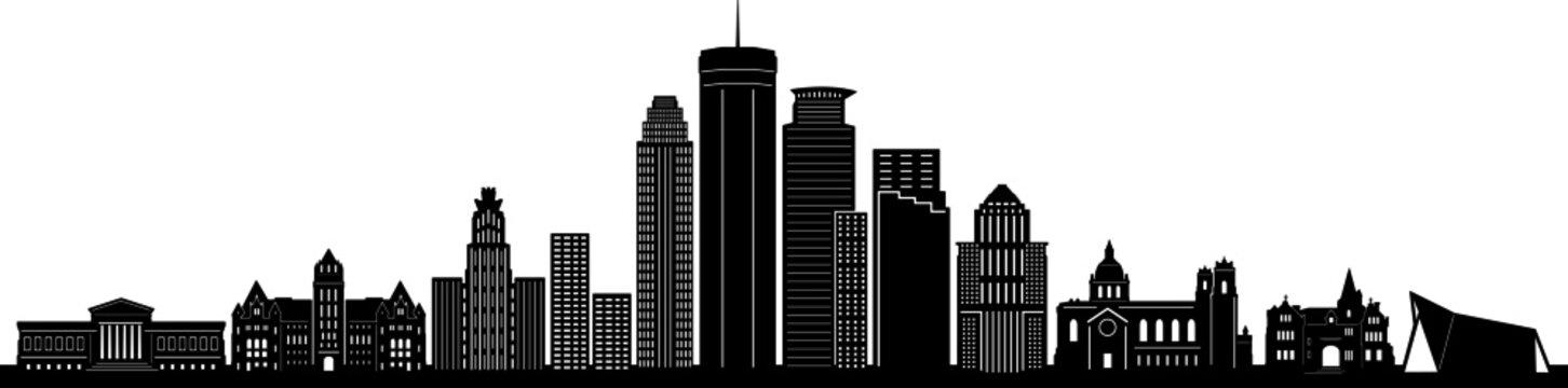 MINNEAPOLIS City Minnesota Skyline Silhouette Cityscape Vector